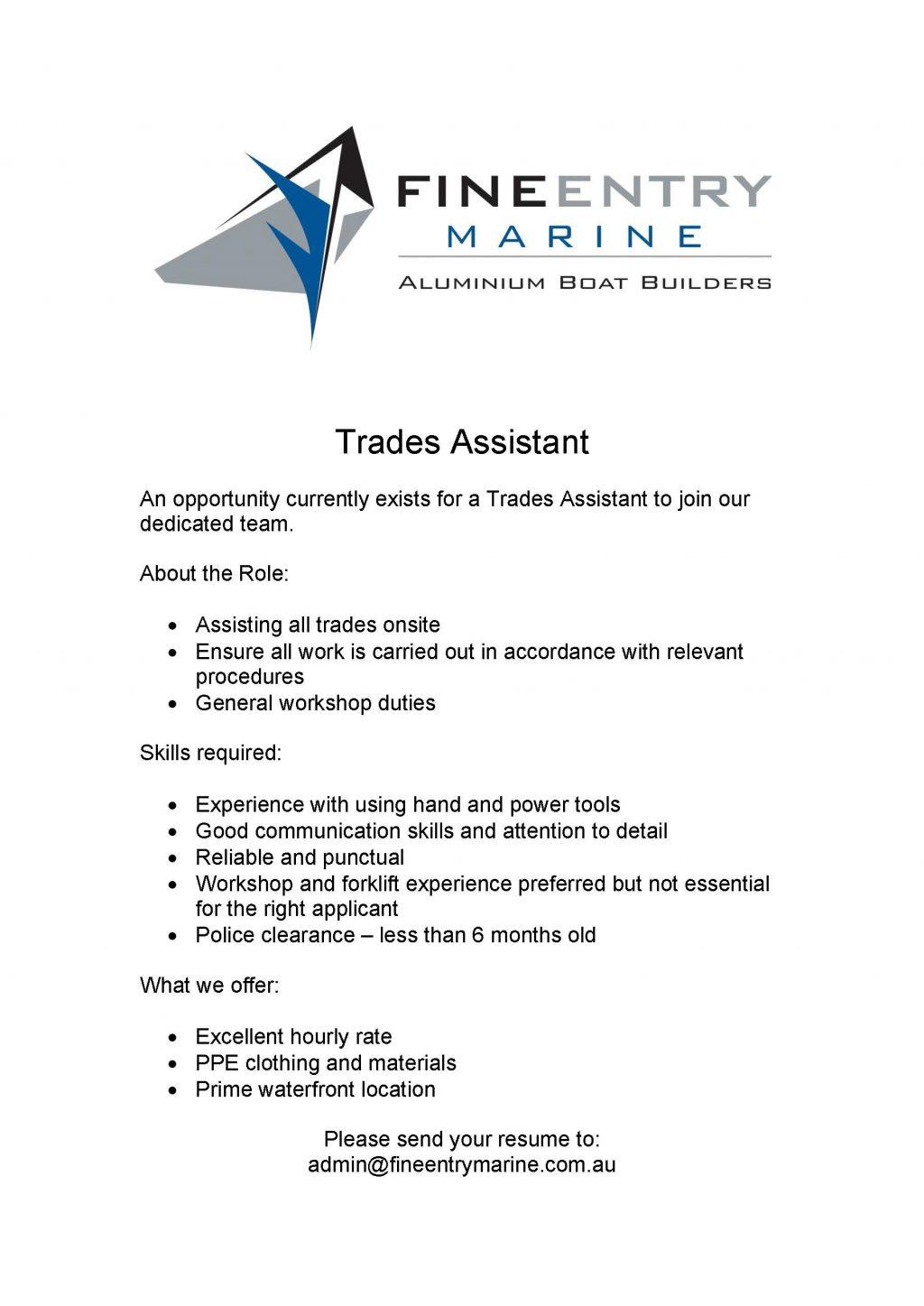 Trades Assistant vacancy